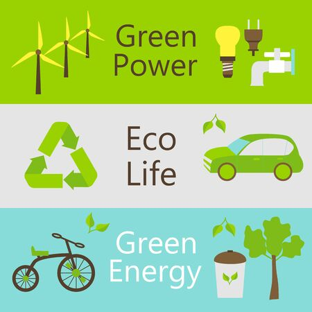 eco power: Eco power objects colorful web banners set. illustration of ecology and green power templates.