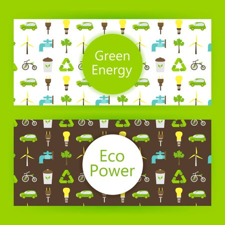 eco power: Ecology energy web banners over green. illustration of eco power and green energy templates.