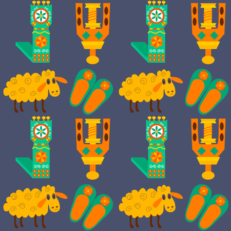 sheeps: Tile texture with sheeps and wool products. Vector illustration of craft products and items for felting.