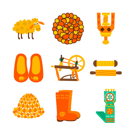 valenki: Handmade wool knitted objects isolated over white. Vector illustration of knitting items.