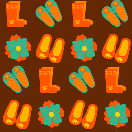 spun: Colorful wool slippers and boots seamless pattern. Vector illustration of tile texture with shoes.