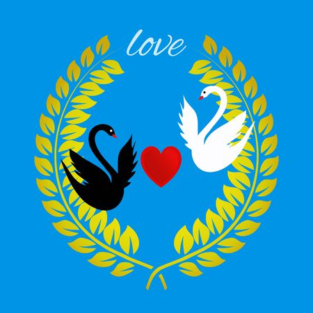 swans: Love greeting card with a heart and swans on blue. Vector illustration of wreath with swans and heart.