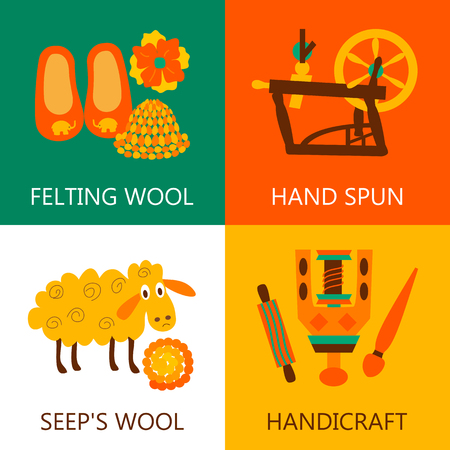 spindle: Four flat wool felting concept..Vector illustration objects felting wool on white,green,orange and white. Illustration