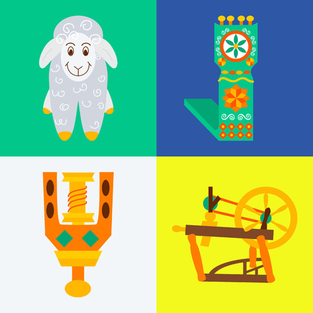 spindle: Four flat handmade knitting sewing concepts.Vector illustration objects felting wool on white,blue,yellow and green. Illustration