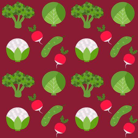 cucumber: Seamless texture broccoli cucumber radish. Vector illustration of vegetarian food.