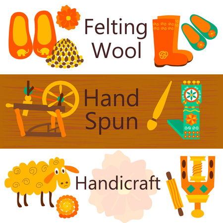 spun: Handmade wool products colorful web banners. Vector illustration of items for felting wool and knitting.