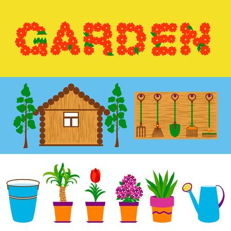 paraphernalia: Garden tools and flowers web banners. Vector illustration of garden paraphernalia.