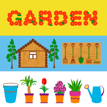 Garden tools and flowers web banners. Vector illustration of garden paraphernalia.