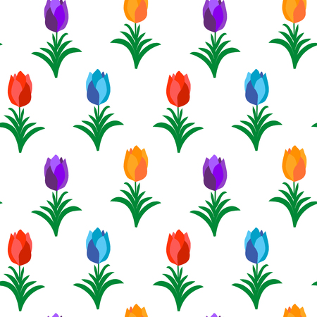 flower pots: Colorful tulips over white seamless pattern. Vector illustration of flowers in flower pots. Illustration