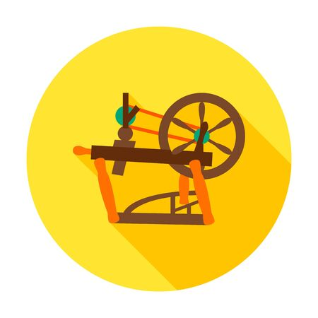 spinning wheel: Spinning wheel flat circle icon. Vector illustration of distaff for hand spinning wool.