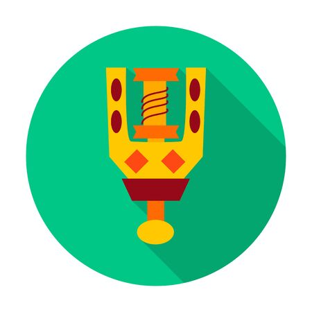 spindle: Spindle flat circle icon. Vector illustration of spindle for spinning wool.