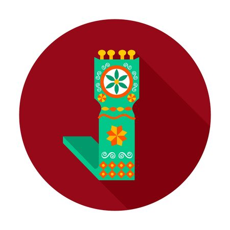 antiquity: Distaff flat circle icon. Vector illustration of distaff on dark red.