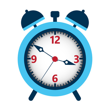 beat the clock: Alarm clock isolated over white. Vector illustration of time meter.