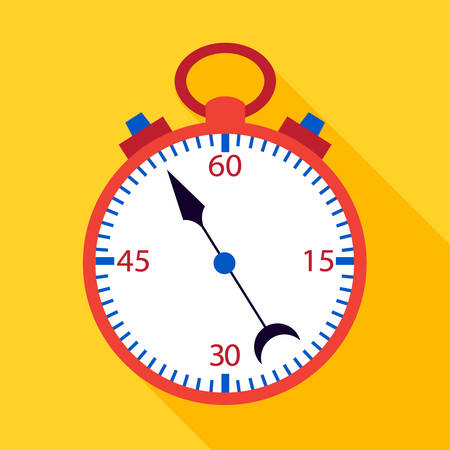yelow: Stopwatch flat over yelow. Vector illustration of measuring tool.