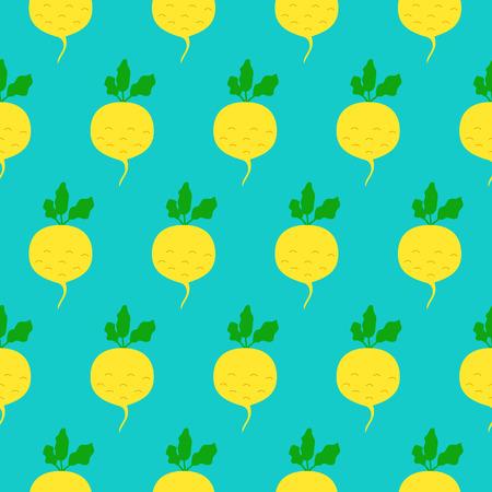turnip: Turnip seamless pattern. Vector illustration of  image of turnip on a mint background.