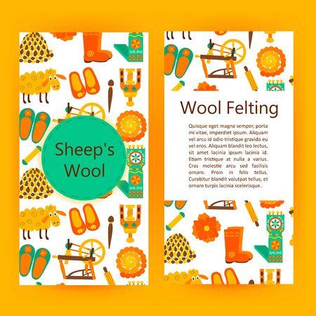 spun: Handmade wool products brochure template. Vector illustration of handicraft felt flyer. Illustration