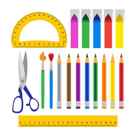 colored school: School tools set over white. Vector illustration of colored school objects.
