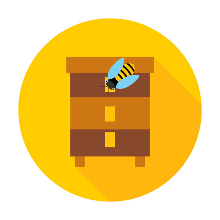 Honey bee hive circle icon. Vector illustration of beehive. Illustration
