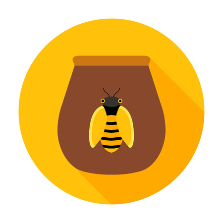 Honey jar with bee circle icon. Vector illustration of pot with honey on yellow. Illustration