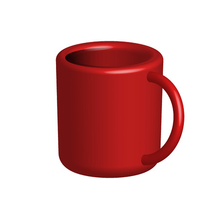 red cup: Red cup isolated over white. Vector illustration of mug mockup. Illustration