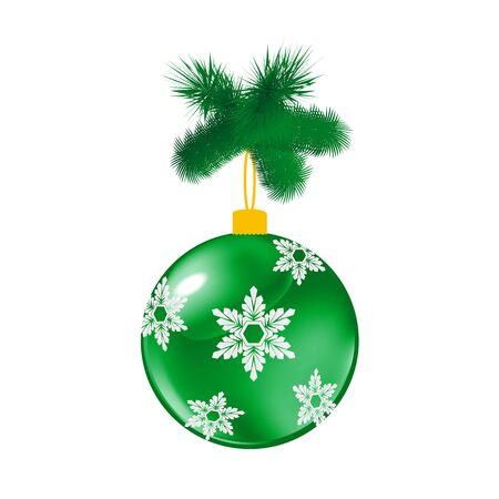 Green Christmas glass ball with pine. Vector illustration of glass decorative object on white.