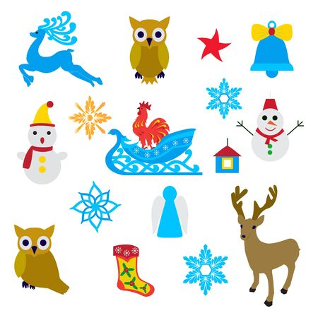 Christmas objects over white. Vector illustration of New Year decoration elements. Vetores