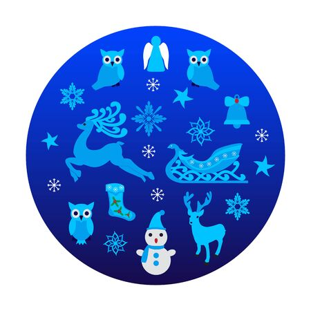 Blue circle with Christmas objects. Vector illustration of New Year decoration elements.