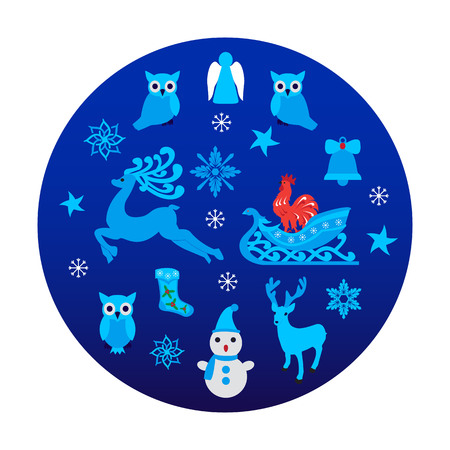 Christmas background on blue. Vector illustration of collection elements for New Year. Illustration
