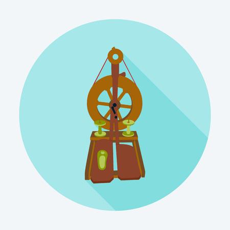 Distaff flat circle icon on blue. Vector illustration of spinning wheel.