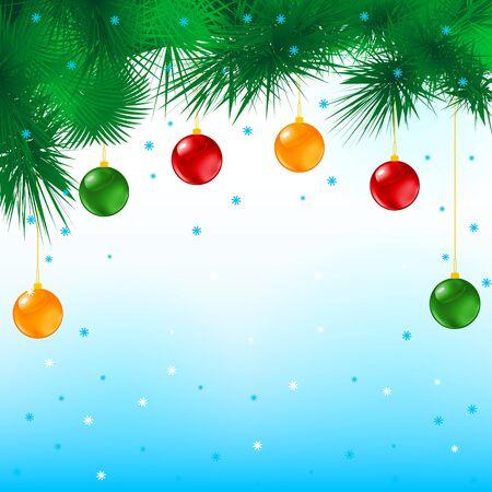 Merry christmas postcard. Vector illustration of balls and tree.