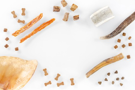 different dog food and snack, chicken filet, antlers, lung, ear on white background, top view with copy space