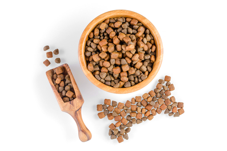 dog food in a bowl and snack like bone on white background, top view
