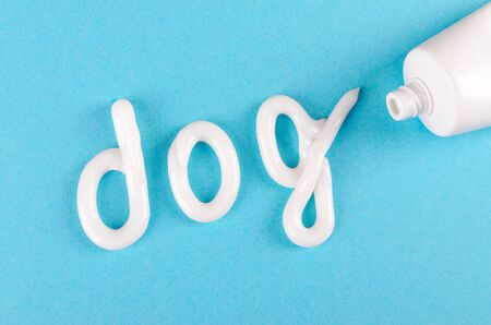 toothpaste for dogs, animal teeth care concept, on blue background