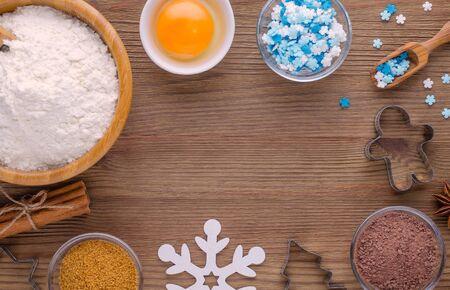 ingredients and kitchen tools for dessert baking on wooden background Zdjęcie Seryjne