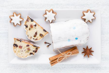 traditional german christmas cake stollen with cookies