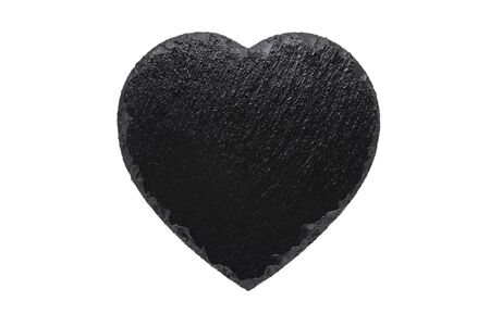 black slate plate like heart isolated on white