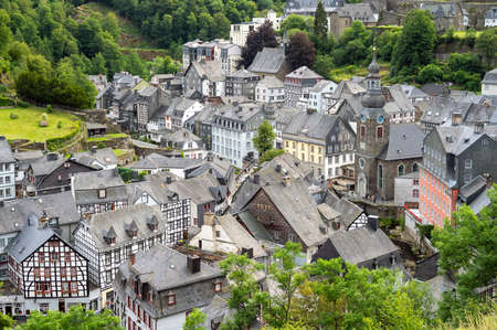 beautiful view of old town Monschau in Germany Stok Fotoğraf