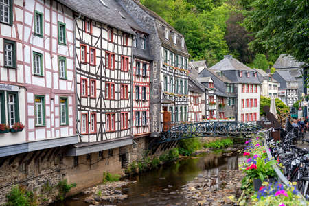 25.07.2020 Germany, Monschau, beautiful view of old town 新闻类图片