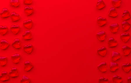 red background with hearts pattern and copy space 免版税图像