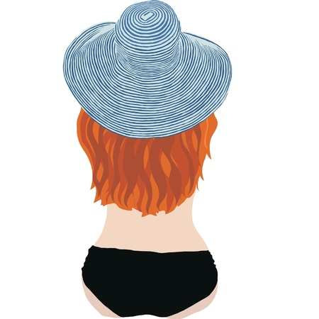red haired woman: Girl in striped hat