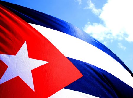 The flag of Cuba blowing in the Wind. Stock Photo