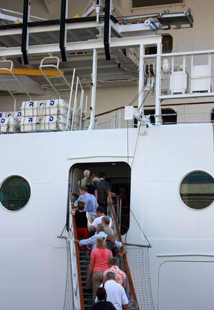 people entering cruise ship