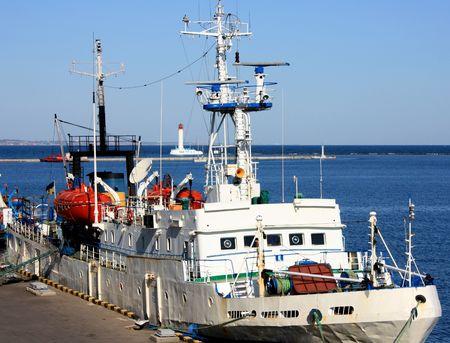 shipper: Old ship at port Stock Photo