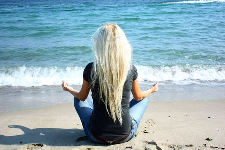 woman in lotus position photo