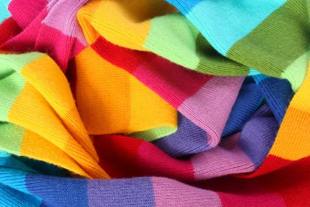 warm cloth: multicolored wool scarf texture Stock Photo