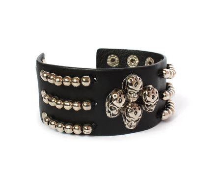 perversion: black bracelet with skulls