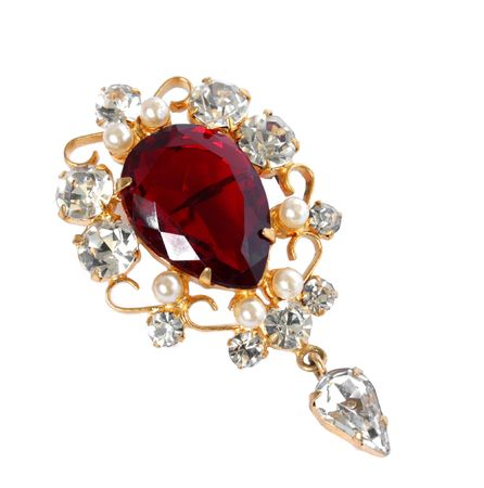 ruby gemstone: Vintage brooch isolated on a white    Stock Photo