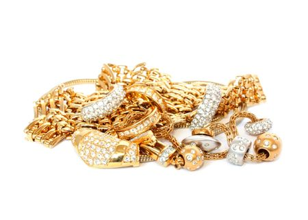 luxury golden accessories Stock Photo