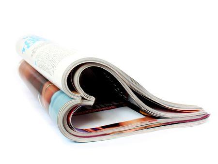 leggere rivista: due riviste a forma di cuore isolato Archivio Fotografico
