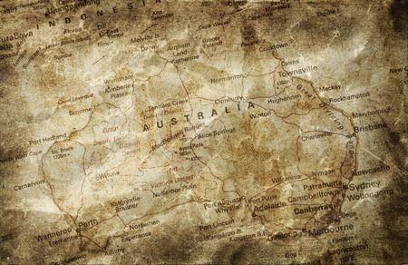 mapa politico: Antiguo mapa de Australia Foto de archivo